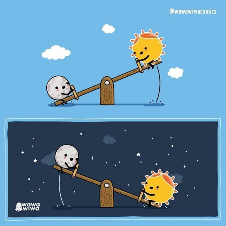 La lune et le soleil qui s'amusent